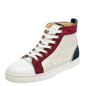 Christian Louboutin Multicolor Leather and Suede Orlato High Top Sneakers Size 42