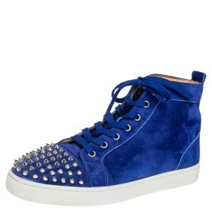 Christian Louboutin Blue Suede Lou Spikes High Top Sneakers Size 42.5