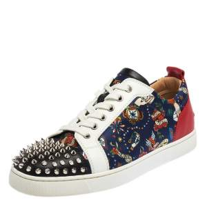 Christian Louboutin Multicolor Floral Print Satin and Leather Louis Spike Junior Low Top Sneakers Size 42