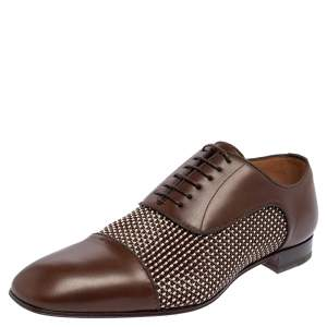Christian Louboutin Brown Woven Leather Greggo Lace Up Oxford Size 42.5