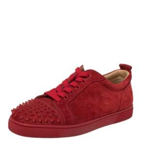 Christian Louboutin Red Suede Louis Junior Spike Low Top Sneakers Size 44.5