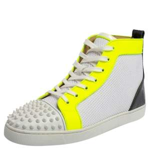 Christian Louboutin Multicolor Knit Fabric And Patent Leather Lou Spikes Orlato Sneakers Size 42.5