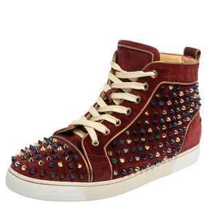 Christian Louboutin Burgundy Suede Louis Spike High Top Sneakers Size 42