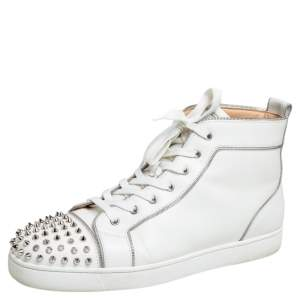 Christian Louboutin White Leather Lou Spiked Zipper Embellished  High Top Sneakers Size 44.5