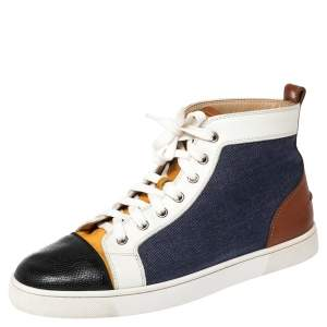 Christian Louboutin Multicolor Denim And Leather Louis Flat High Top Sneakers Size 41.5