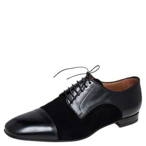 Christian Louboutin Black Leather and Suede Daviol Derby Size 43