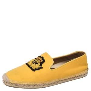 Christian Louboutin Yellow Velvet Nanou Crest Espadrille Loafers Size 43