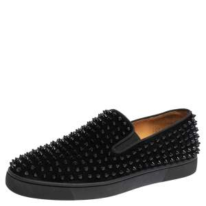 Christian Louboutin Black Suede Roller Boat Spiked Slip On Sneakers Size 42