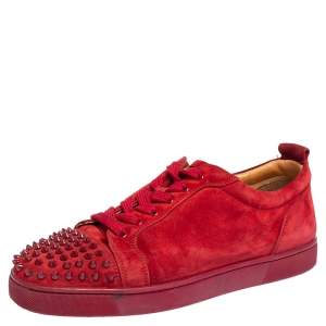 Christian Louboutin Red Suede Vieira Spikes Low Top Sneakers Size 42