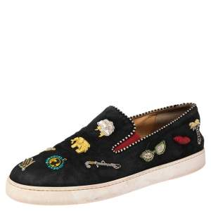 Christian Louboutin Black Suede Embellished Slip-On Trainer Sneakers Size 42