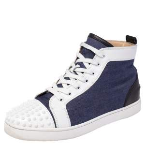 Christian Louboutin Denim Fabric Lou Degra Spiked High Top Sneakers Size 44