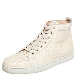 Christian Louboutin Cream Python Leather Rantus Orlato High Top Sneakers Size 44