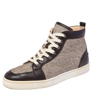 Christian Louboutin Brown/Beige Woven Canvas and Leather Rantus High Top Sneakers Size 44