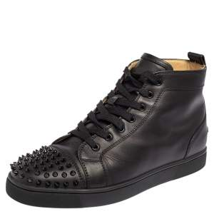 Christian Louboutin Black Leather Lou Spikes High Top Sneakers Size 44.5