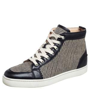 Christian Louboutin Beige/Black Straw and Leather Rantus Sneakers Size 44.5