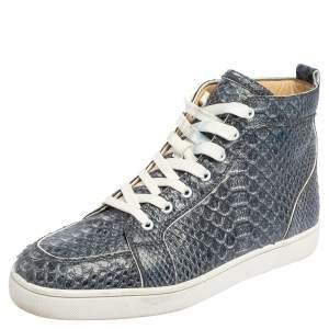 Christian Louboutin Blue/White Python Rantus Orlato High Top Sneakers Size 44