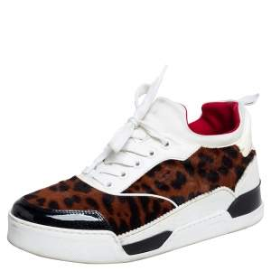 Christian Louboutin Multicolor Leopard Print Calfhair, Patent and Leather Aurelien Sneakers Size 38