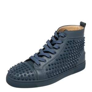 Christian Louboutin Blue Leather Louis Spikes High Top Sneakers Size 42