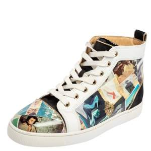 Christian Louboutin Multicolor Patent Leather and Suede Louis Orlato High Top Sneakers Size 42