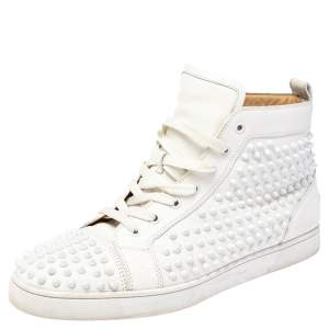 Christian Louboutin White Leather Louis Spikes High Top Sneakers Size 45