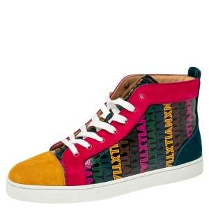 Christian Louboutin Multicolor Xtian Print Suede and Leather Louis Orlato High Top Sneakers Size 43.5