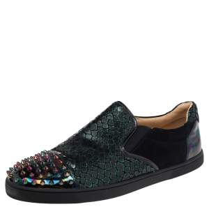Christian Louboutin Multicolor Snake Print Leather And Holographic Leather Spike Toe Cap Sneakers Size 44