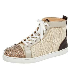 Christian Louboutin Multicolor Leather And Woven Raffia Lou Spikes High Top Sneakers Size 43.5