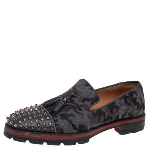 Christian Louboutin Camouflage Wool And Leather Rossini Spike Cap Toe Loafers Size 42.5