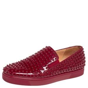 Christian Louboutin Burgundy Patent Leather Spikes Slip-On Sneakers Size 42