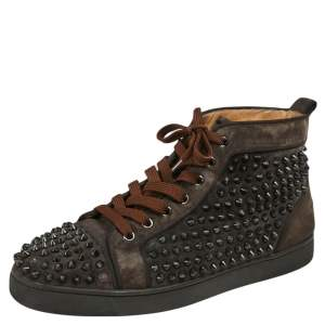 Christain Louboutin Brown Suede Spike Accents Sneakers Size 42