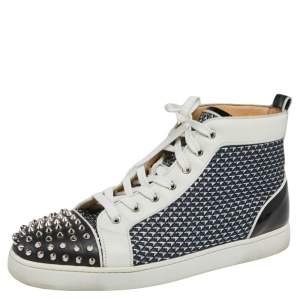 Christian Louboutin Black/White Leather Spikes Orlato High Top Sneakers Size 45