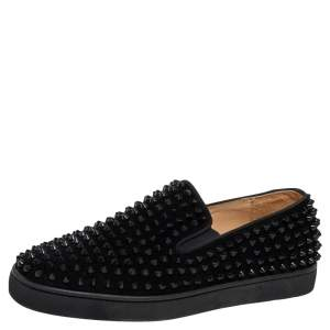 Christian Louboutin Black Suede Dandelion Spikes Sneakers Size 40.5