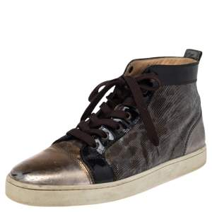 Christian Louboutin Metallic Tricolor Leather and Fabric Orlato High Top Sneakers Size 42