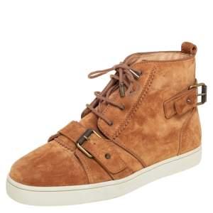 Christian Louboutin Tan Suede Nono Strap Reglisse High Top Sneakers Size 40