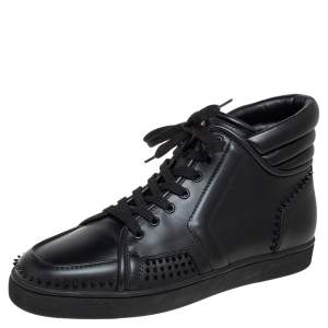 Christian Louboutin Black Leather Rantus Spike Sneakers Size 45