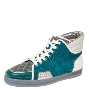 حذاء رياضي كريستيان لوبوتان لوي سبايك سويدي وجلد نقشة الثعبان أزرق/فضي عنق مرتفع مقاس 44.5