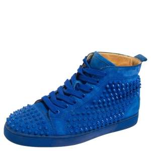 Christian Louboutin Blue Suede Louis Spikes High Top Sneakers Size 42
