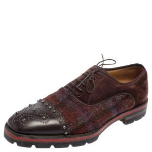 Christian Louboutin Brown/Burgundy Leather And Wool Blend Robertus Studded Lace Up Oxfords Size 42.5