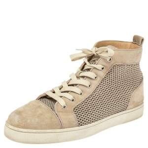 Christian Louboutin Grey Suede Rantus High Top Sneakers Size 42