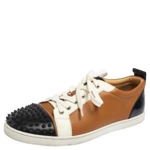 Christian Louboutin Tri Color Leather Louis Spikes Low Top Sneakers Size 44