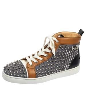 حذاء رياضي كريستيان لوبوتان لويز سبايكس دينم وجلد ثلاثي اللون  بعنق مرتفع مقاس 44
