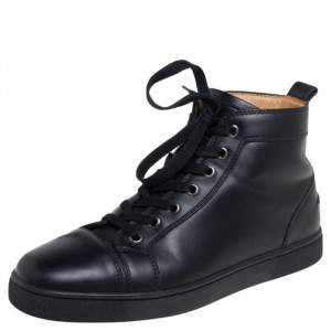 Christian Louboutin  Black Leather High Top Sneakers Size 41