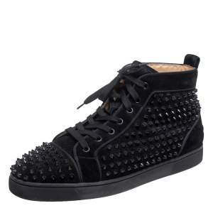 Christian Louboutin Black Suede Orlato Spikes High Top Sneakers Size 45