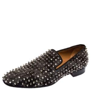 Christian Louboutin Black/Grey Camouflage Flannel Dandelion Spikes Loafer Size 40