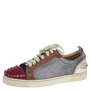 Christian Louboutin Multicolor Suede And Leather Louis Junior Spikes Low Top Sneakers Size 41