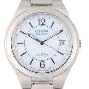 Citizen White Stainless Steel Eco-Drive E111 Men's Wristwatch 35 MM