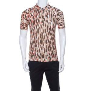 Class by Roberto Cavalli Brown Ikkat Leopard Print Cotton Polo T-Shirt S