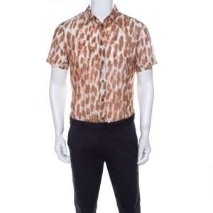 Class by Roberto Cavalli Brown Ikkat Leopard Print Cotton Short Sleeve Shirt S
