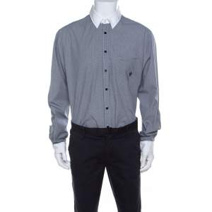 Class by Roberto Cavalli Gingham Checked Cotton Contrast Collar Shirt 3XL