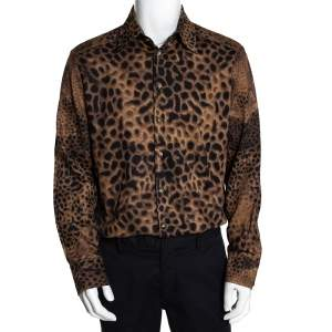 Class by Roberto Cavalli Brown Cotton Animal Print Shirt L